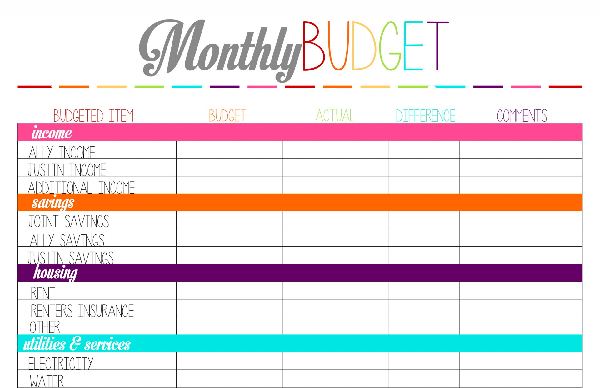 017 Free Printable Budget Worksheet Template 94771 Monthly Templates   Free Printable Budget Worksheets