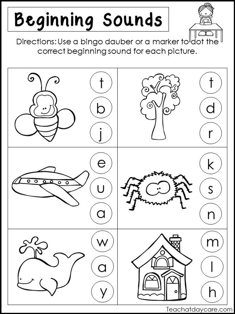 10 Printable Beginning Sounds Worksheets. Preschool-1St Grade | Etsy | Printable Beginning Sounds Worksheets