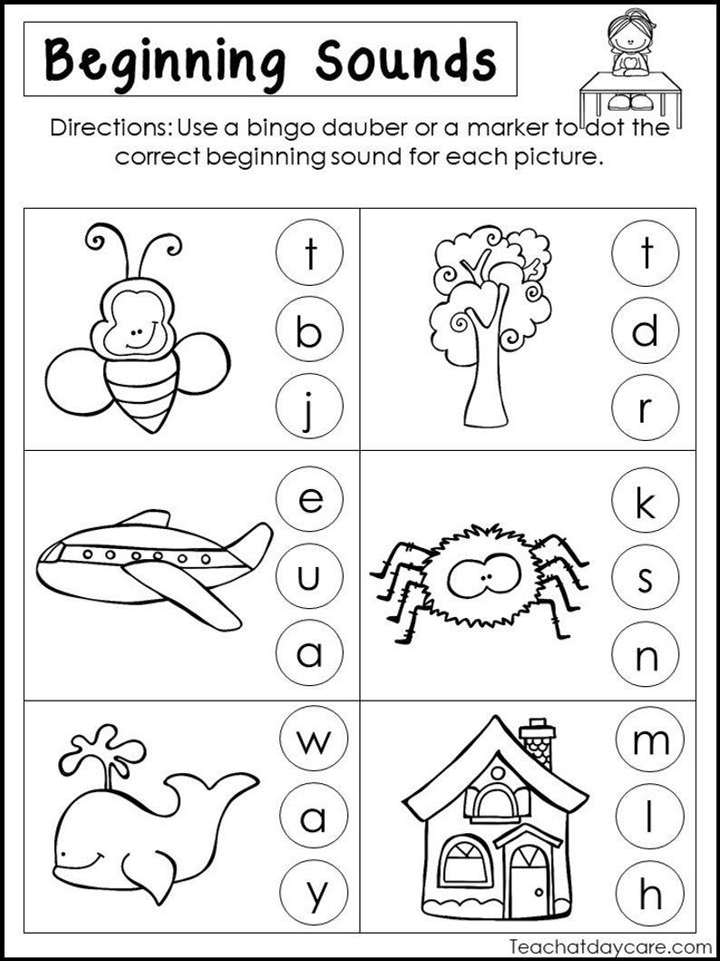 10 Printable Beginning Sounds Worksheets. Preschool-1St Grade   Etsy   Printable Beginning Sounds Worksheets