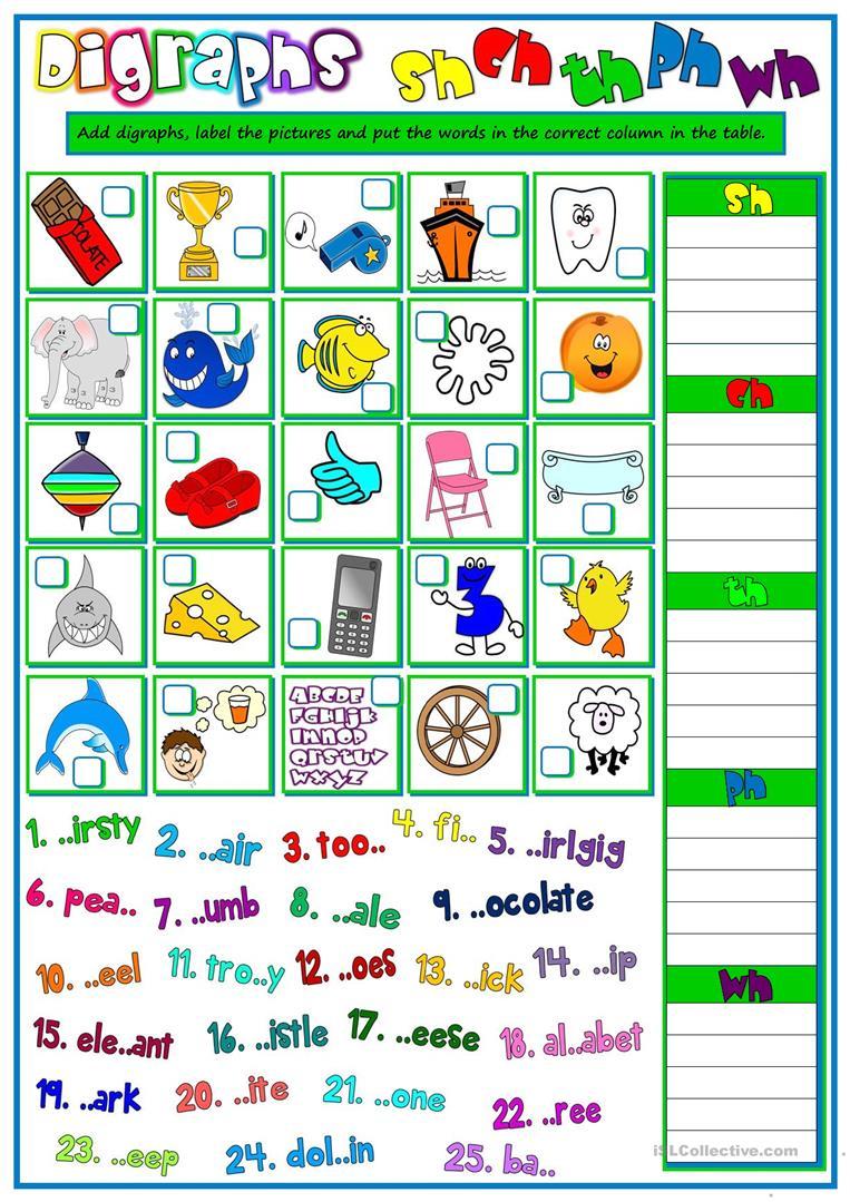 13 Free Esl Digraphs Worksheets | Free Printable Ch Digraph Worksheets