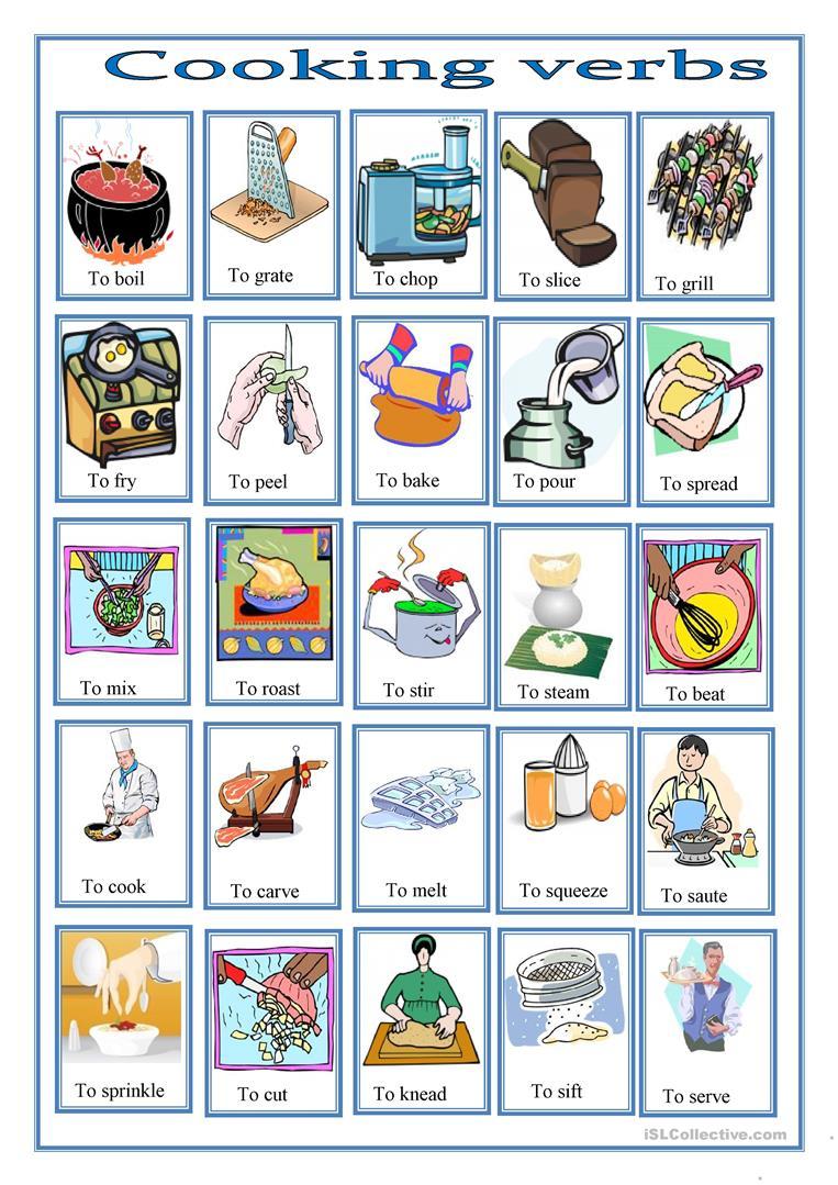 16 Free Esl Cooking Verbs Worksheets | Cooking Verbs Printable Worksheets