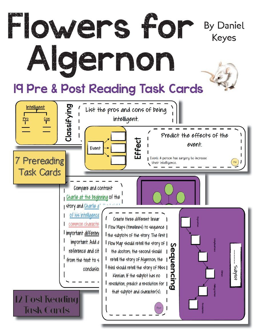 "19 Task Cards. Use The Intriguing Short Story, ""Flowers For Algernon 