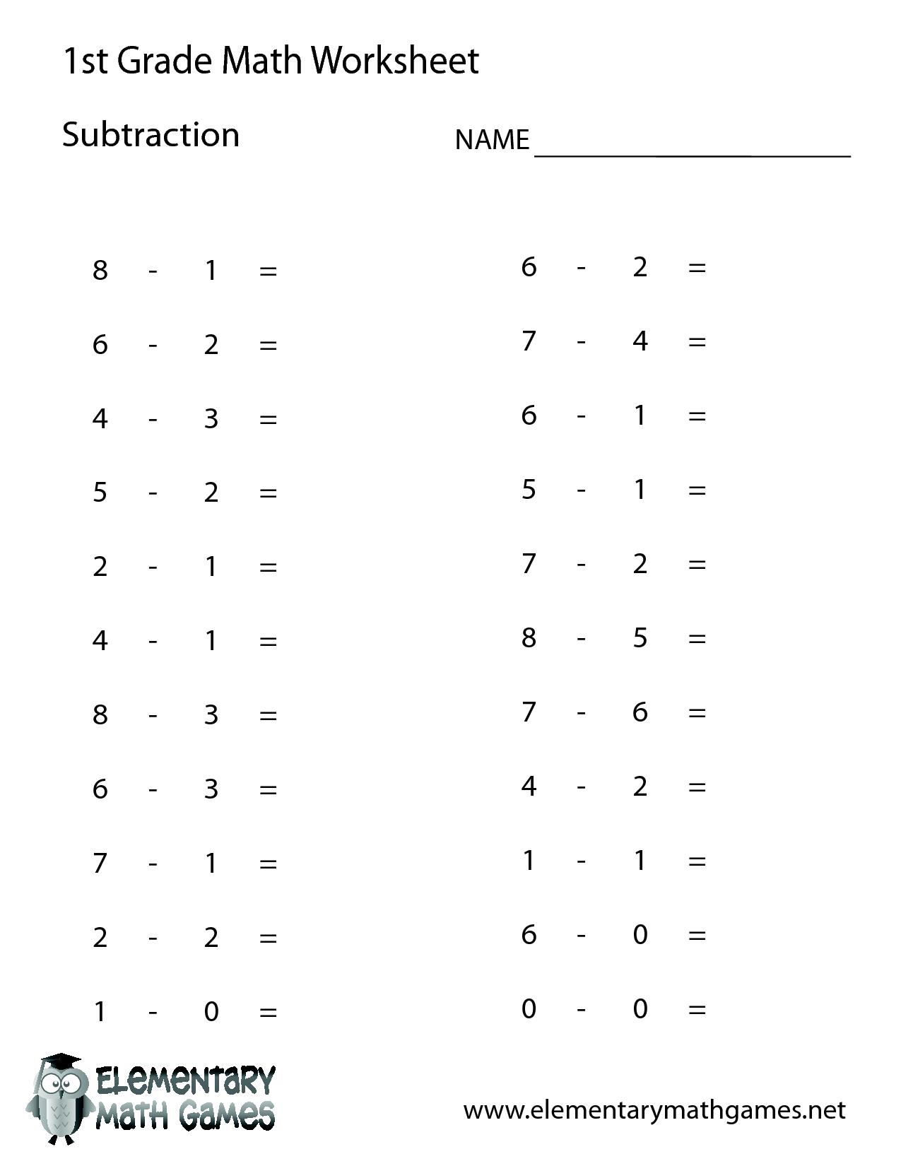 1St Grade Math Worksheets | 1St Grade Math | 1St Grade Math | Free Printable Math Worksheets For 1St Grade Addition