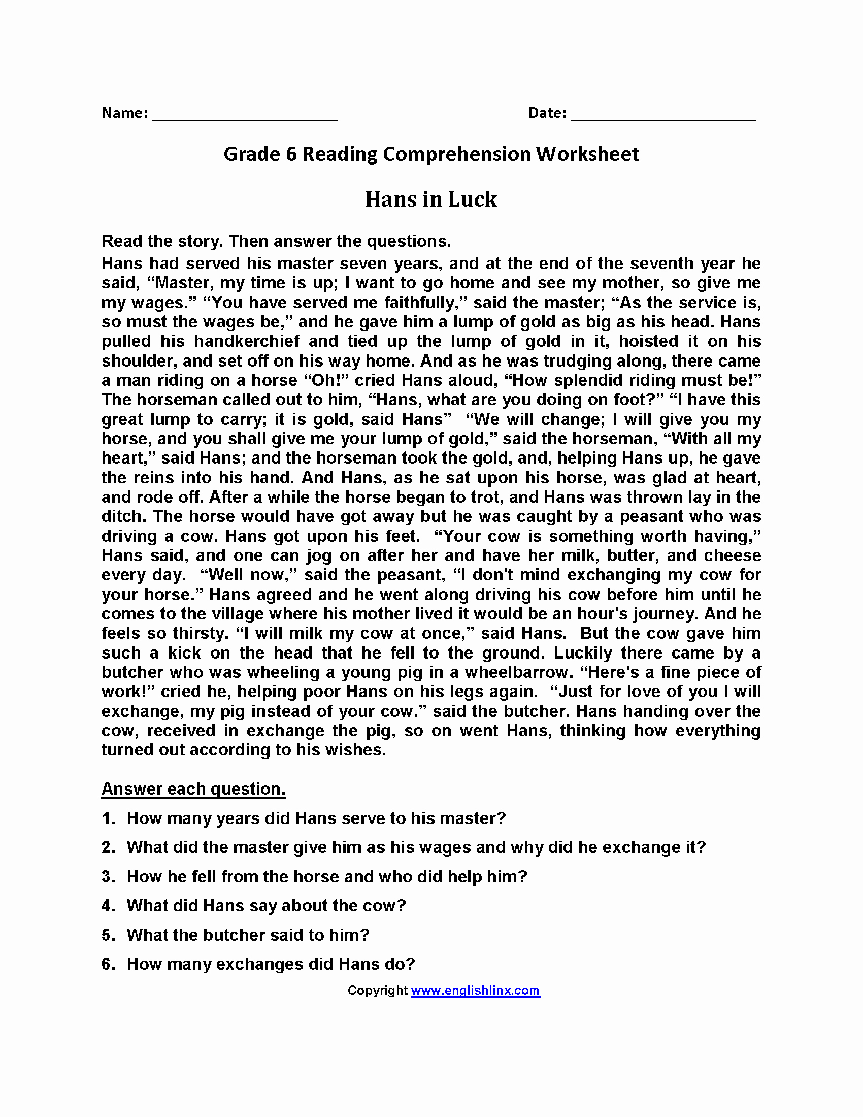 20 Free Printable Reading Comprehension Worksheets For 6Th Grade | Free Printable 6Th Grade Reading Worksheets