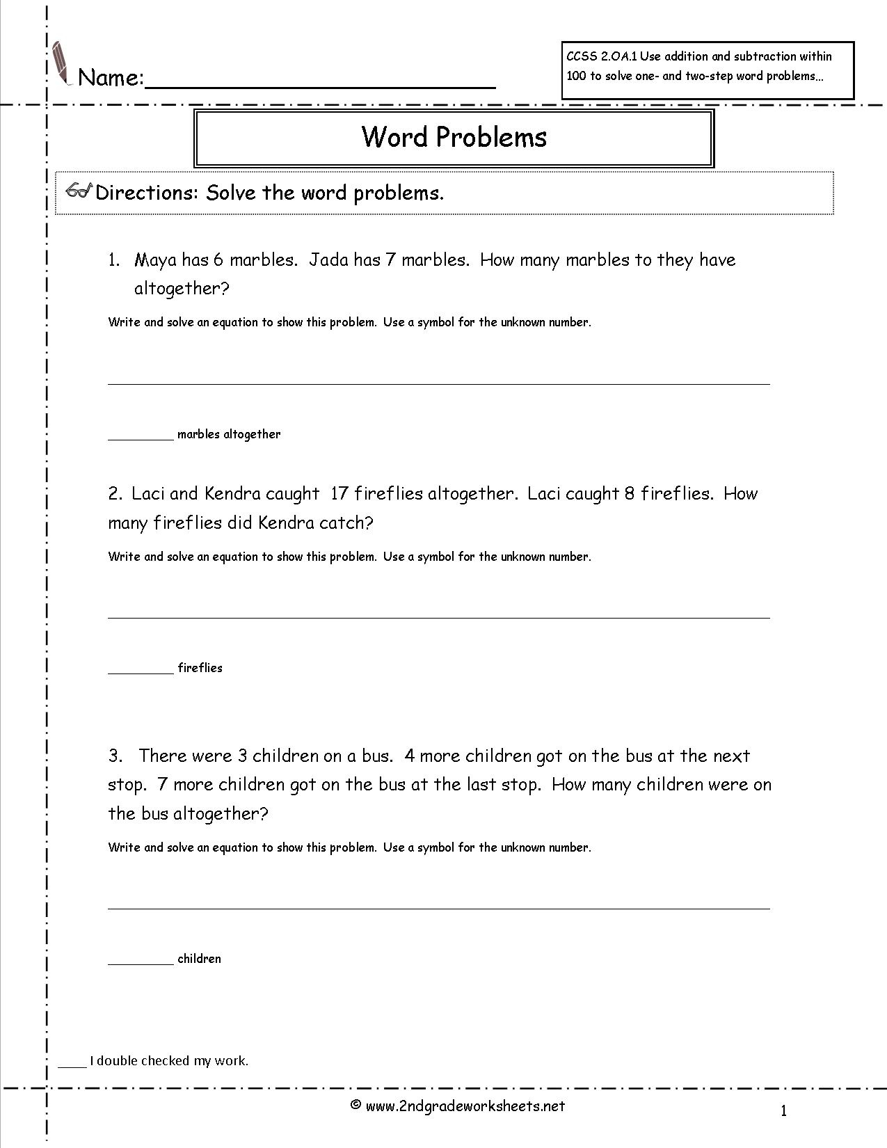 2Nd Grade Math Common Core State Standards Worksheets | Grade 2 Math Word Problems Printable Worksheets