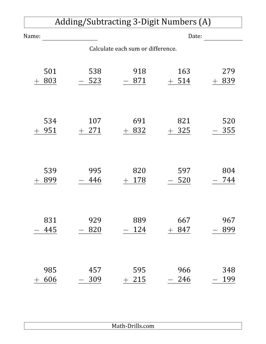 3-Digit Plus/minus 3-Digit Addition And Subtraction With Some | Free Printable Addition And Subtraction Worksheets With Regrouping