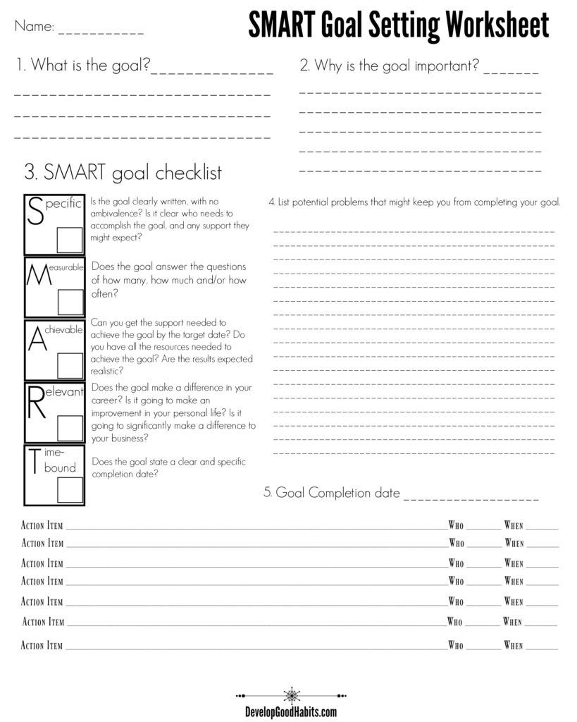 4 Free Goal Setting Worksheets – 4 Goal Templates To Manage Your Life | Printable Goal Setting Worksheet For High School Students