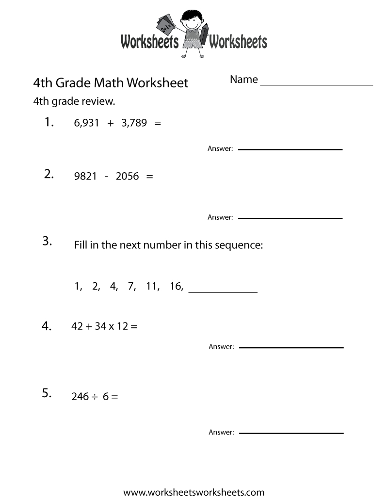 4Th Grade Math Review Worksheet - Free Printable Educational | Free Printable Worksheets For 4Th Grade