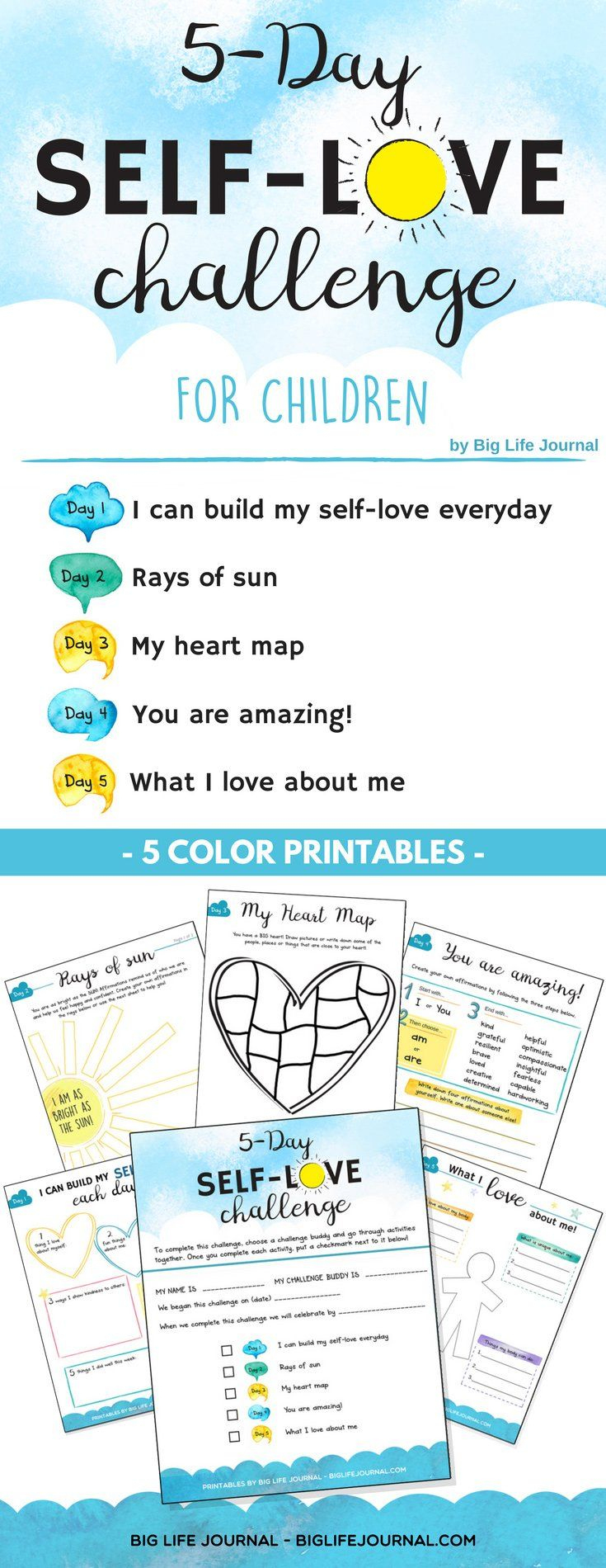 5-Day Self-Love Challenge For Children | Therapy Tools | Self Esteem | Self Esteem Printable Worksheets For Kids