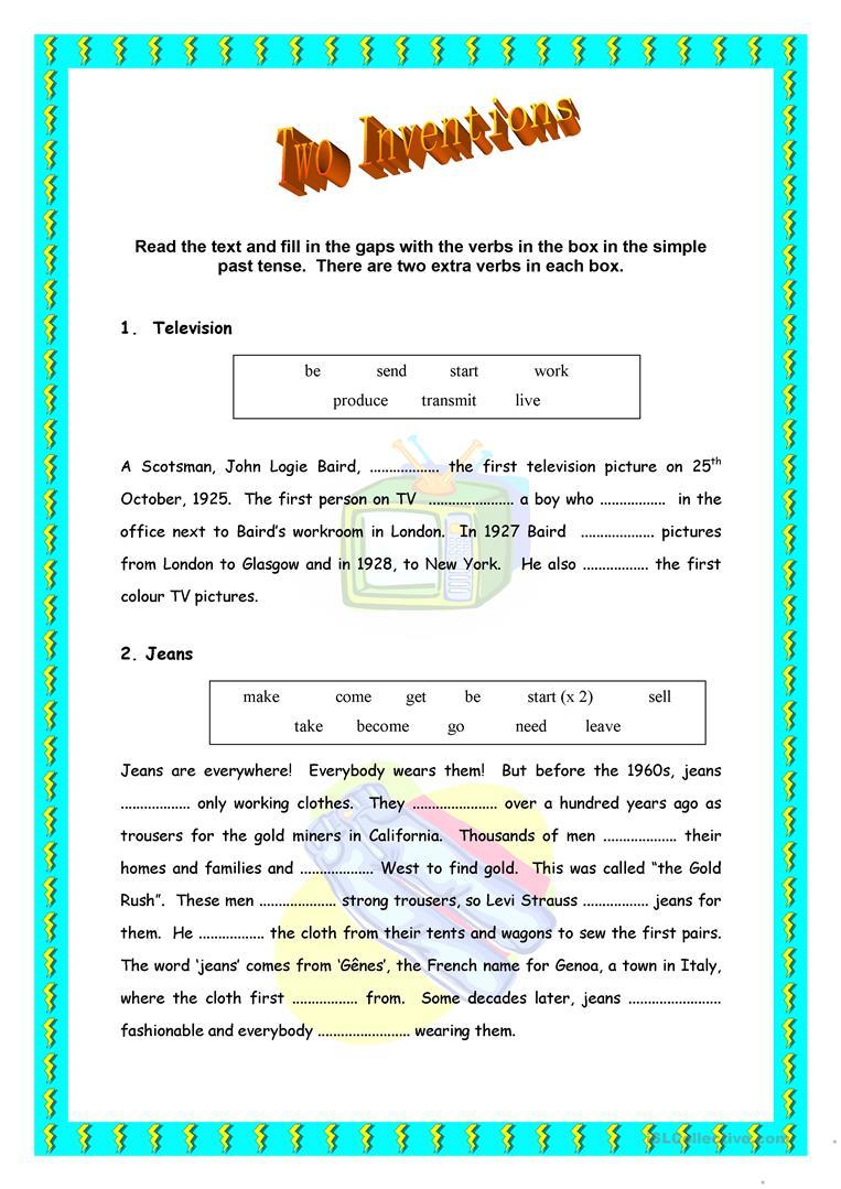 53 Free Esl Inventions Worksheets | Inventions Printable Worksheets