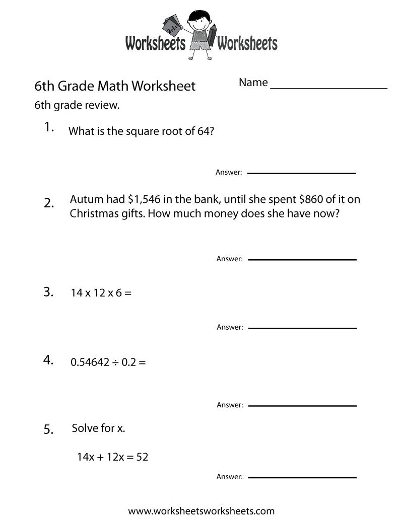 6 Grade Math Worksheets | Sixth Grade Math Practice Worksheet - Free | 7Th Grade Worksheets Free Printable