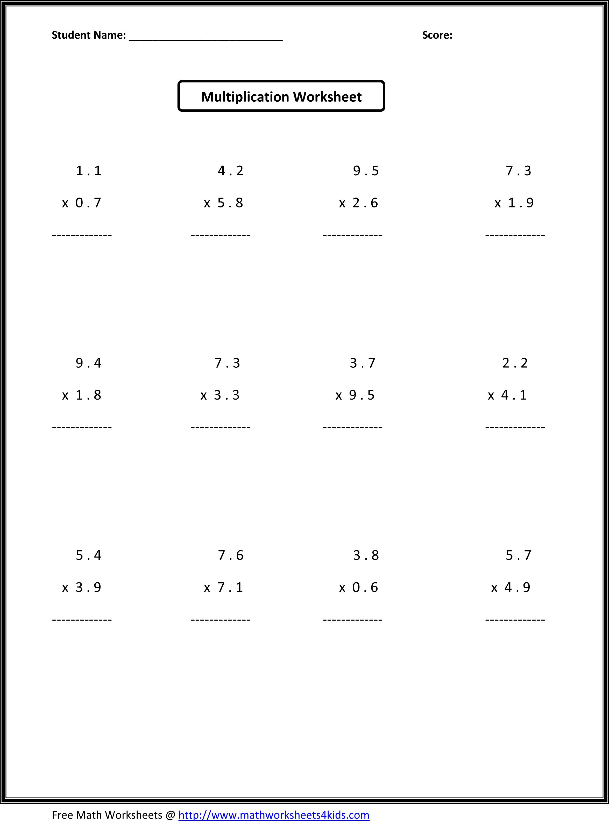 7Th Grade Math Worksheets | Value Worksheets Absolute Value - Free | Free Printable Multiplication Worksheets For 6Th Grade