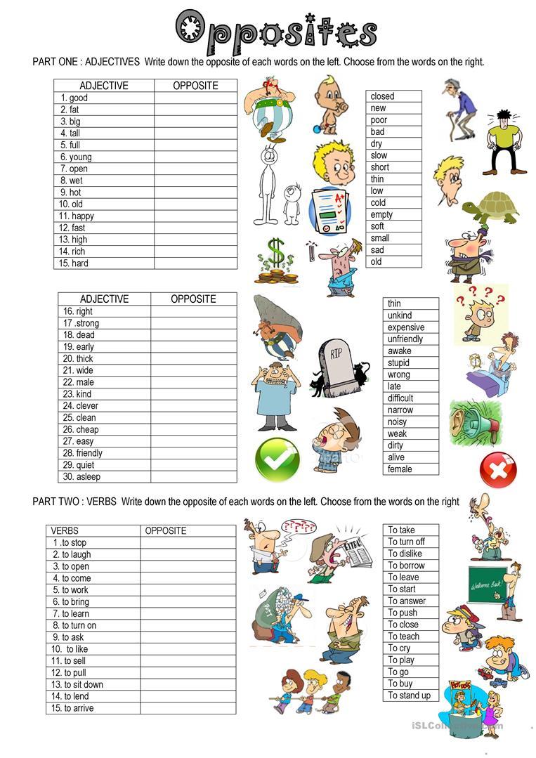 83 Free Esl Opposites (Antonyms) Worksheets | Free Printable Antonym Worksheets