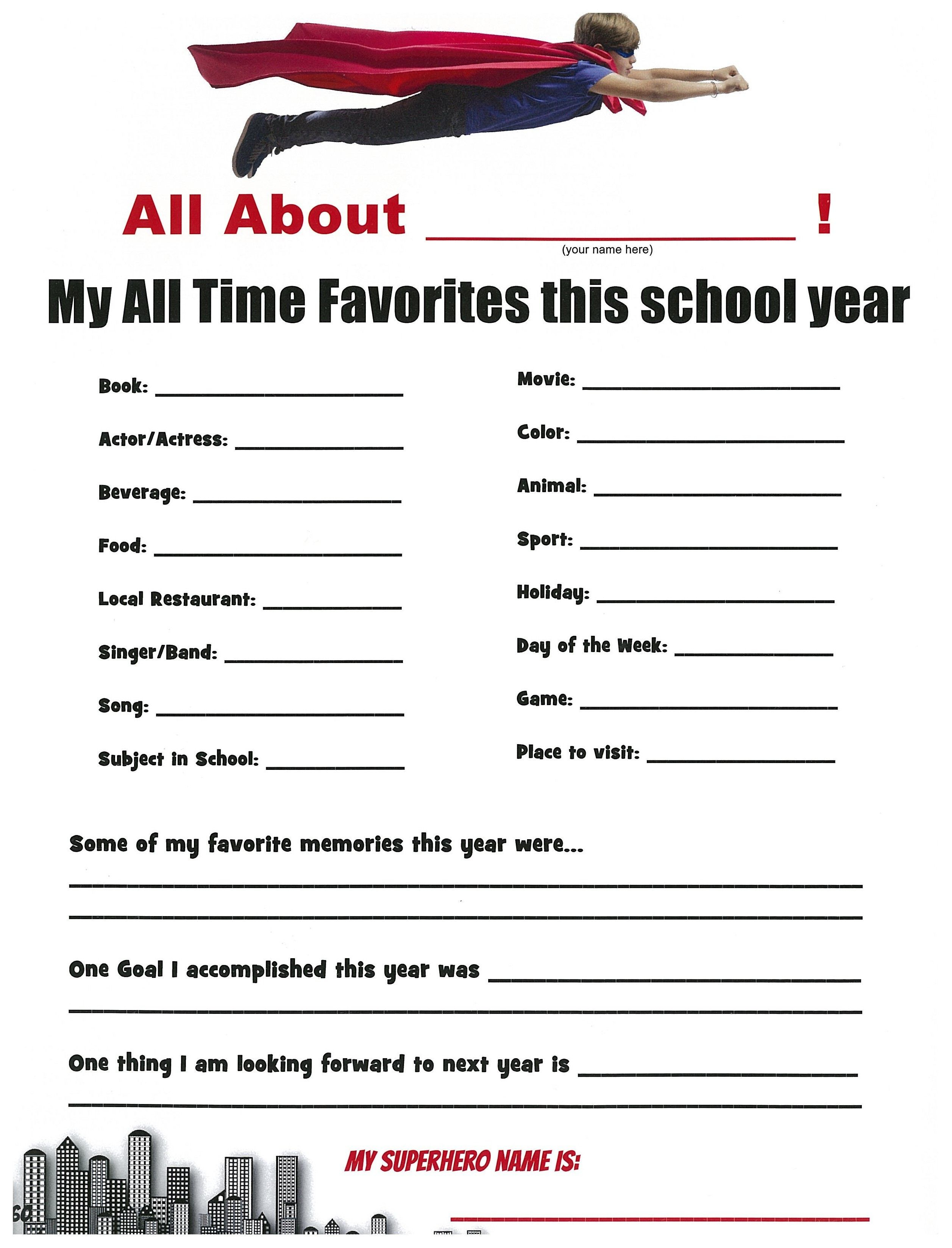 A Cute Idea For A Superhero Themed School Yearbook Page. The Kids | Yearbook Printable Worksheets