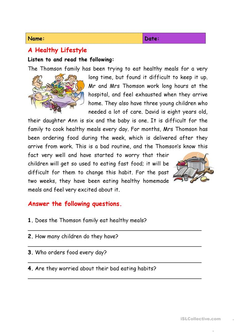 A Healthy Lifestyle Worksheet - Free Esl Printable Worksheets Made | 4Th Grade Health Printable Worksheets
