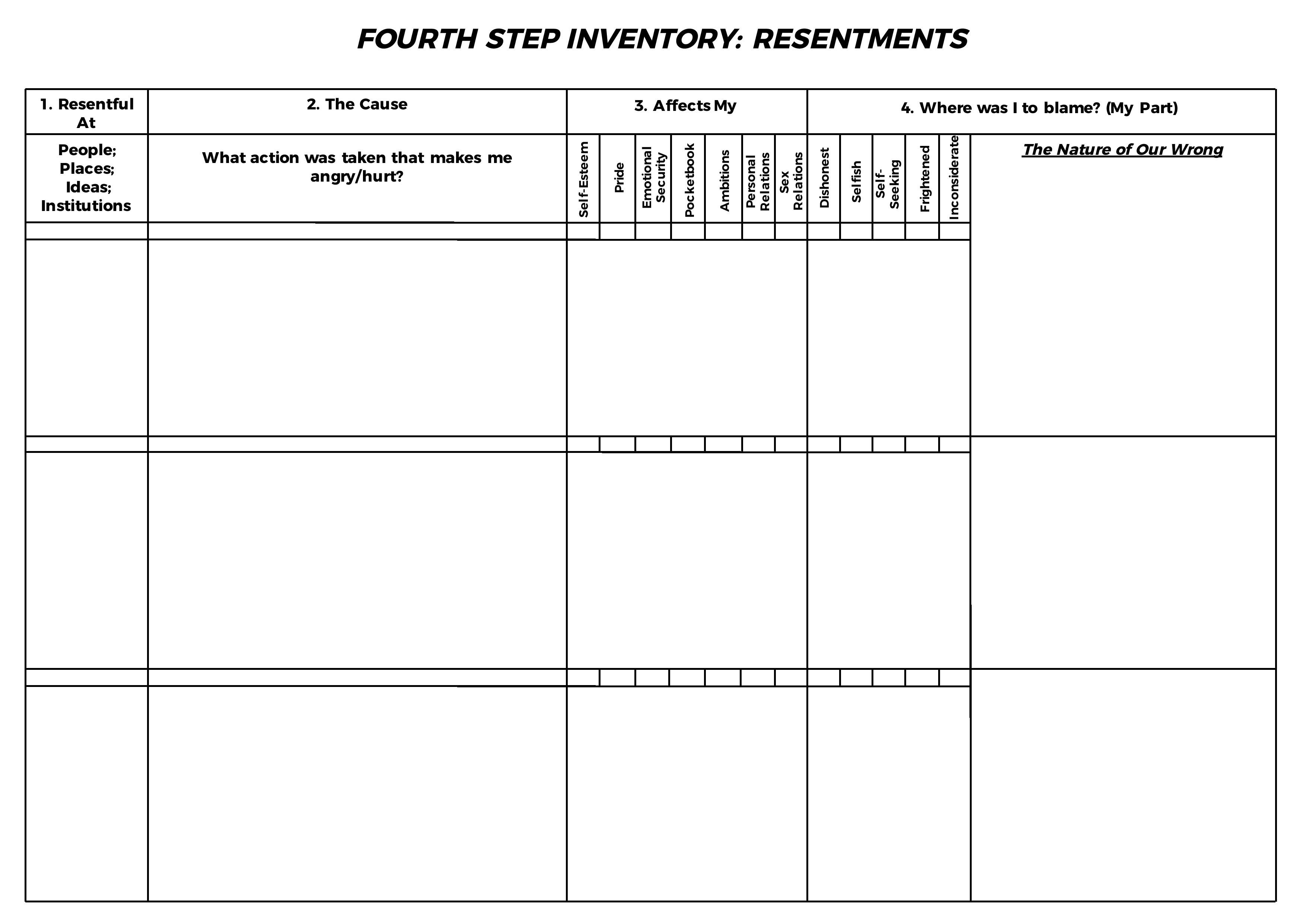 Aa 4Th / Fourth Step Inventory Resentments | Aa 4Th / Fourth Step | Printable Aa Step Worksheets