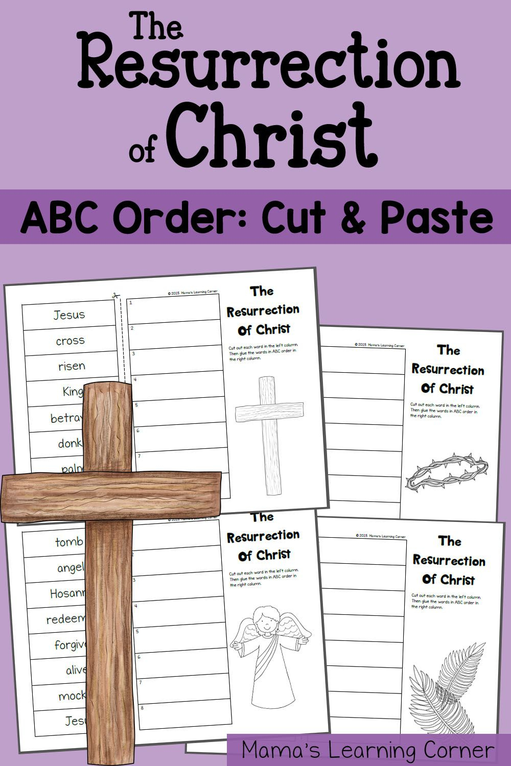 Abc Order Worksheet (Cut And Paste!): The Resurrection Of Christ   Religious Worksheets Printable