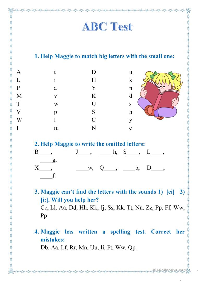 Abc Test Worksheet - Free Esl Printable Worksheets Madeteachers | Test Worksheets Printable