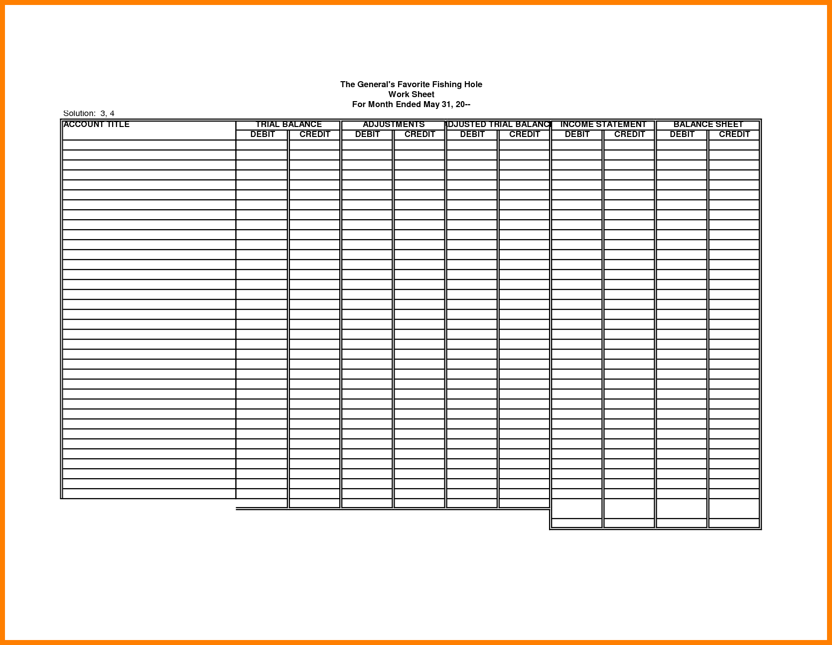 Accounting Worksheet Template - Koran.sticken.co | Accounting Worksheet Template Printable