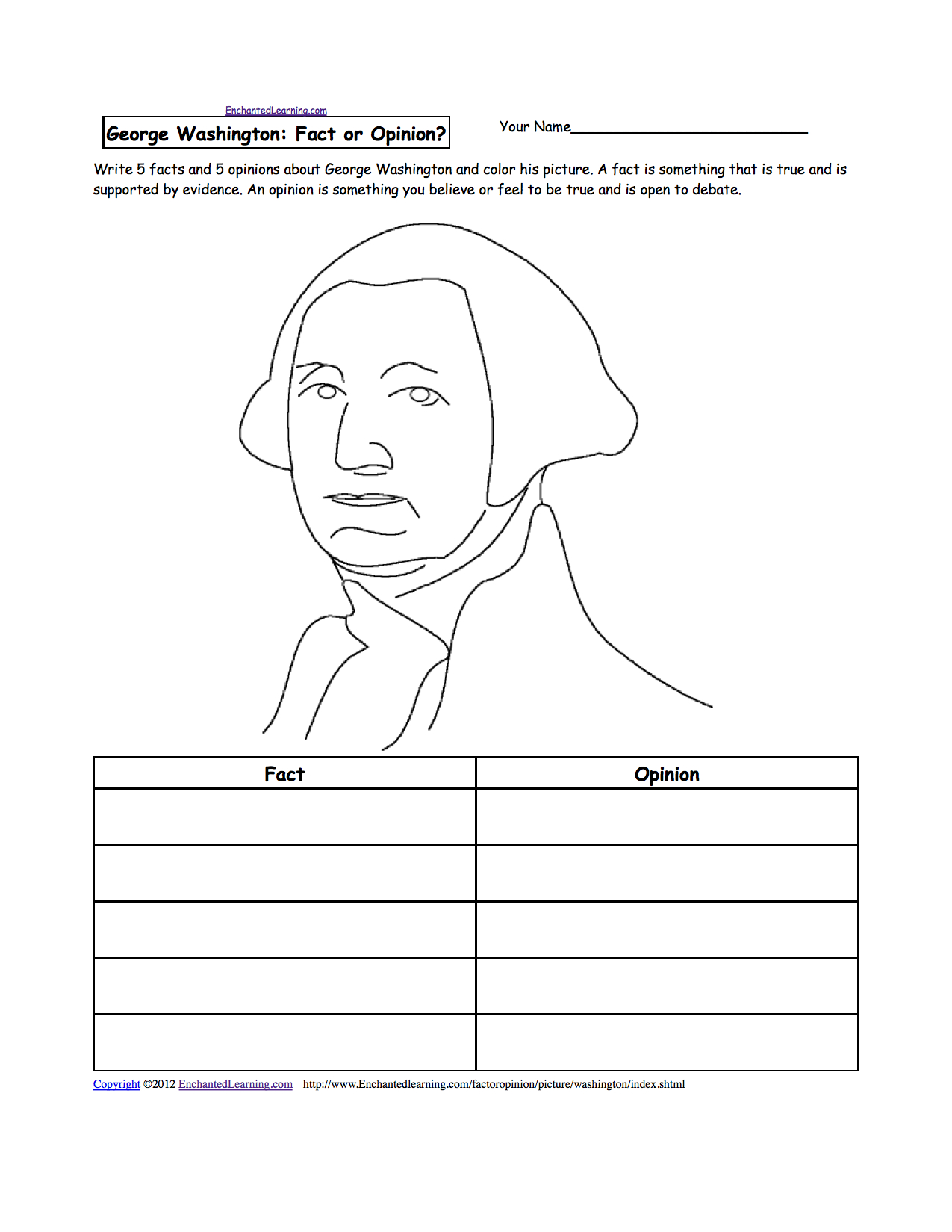 Activities, Worksheets And Crafts For Presidents Day - Enchanted | George Washington Printable Worksheets