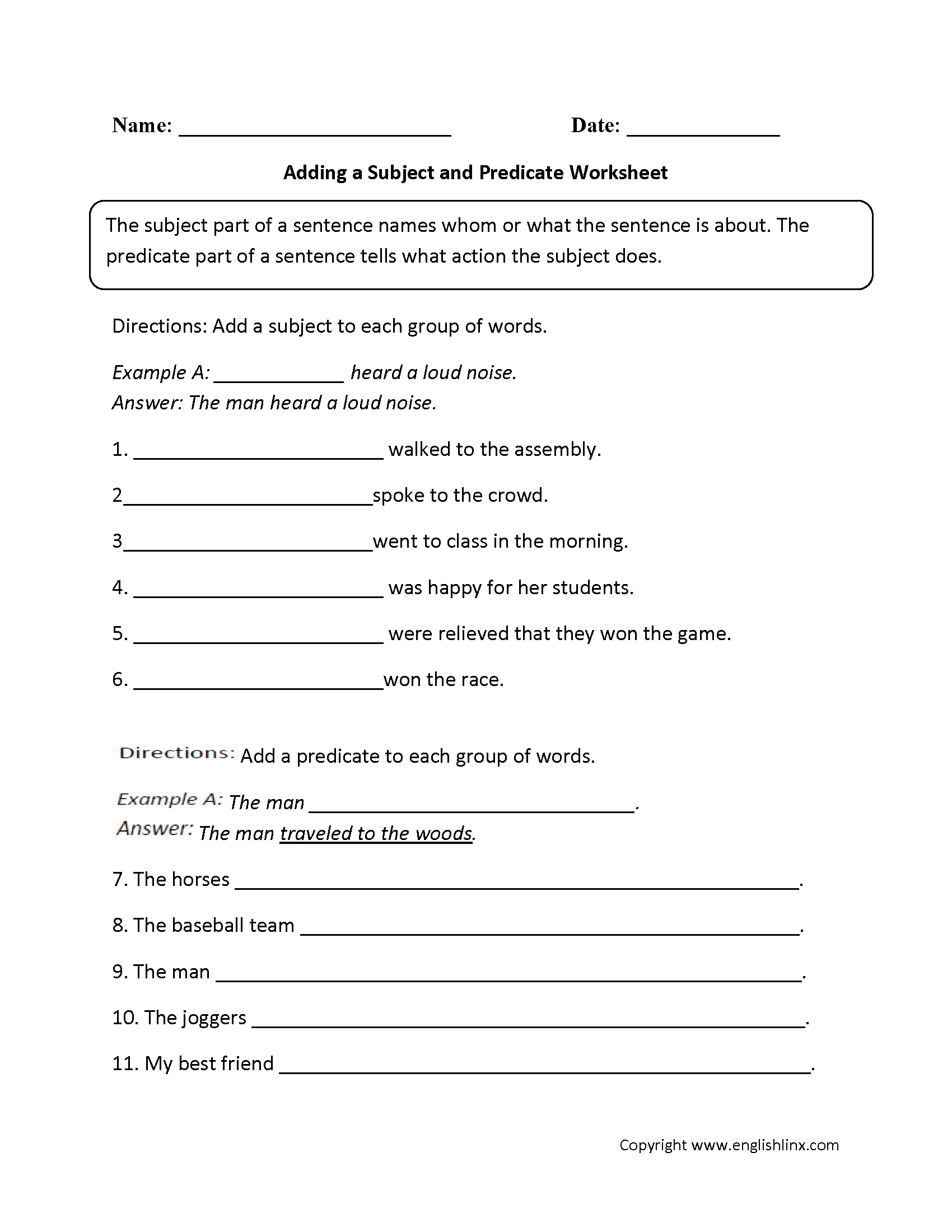 Adding A Subject And Predicate Worksheet | Rti Ela Middle School | Free Printable Subject Predicate Worksheets 2Nd Grade