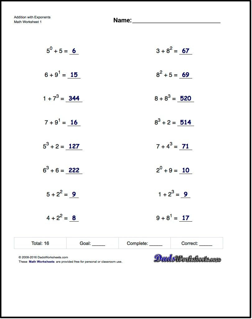 Adding Exponents Worksheets, Including Simple Problems Where - Free | Free Printable Math Worksheets 6Th Grade Order Operations