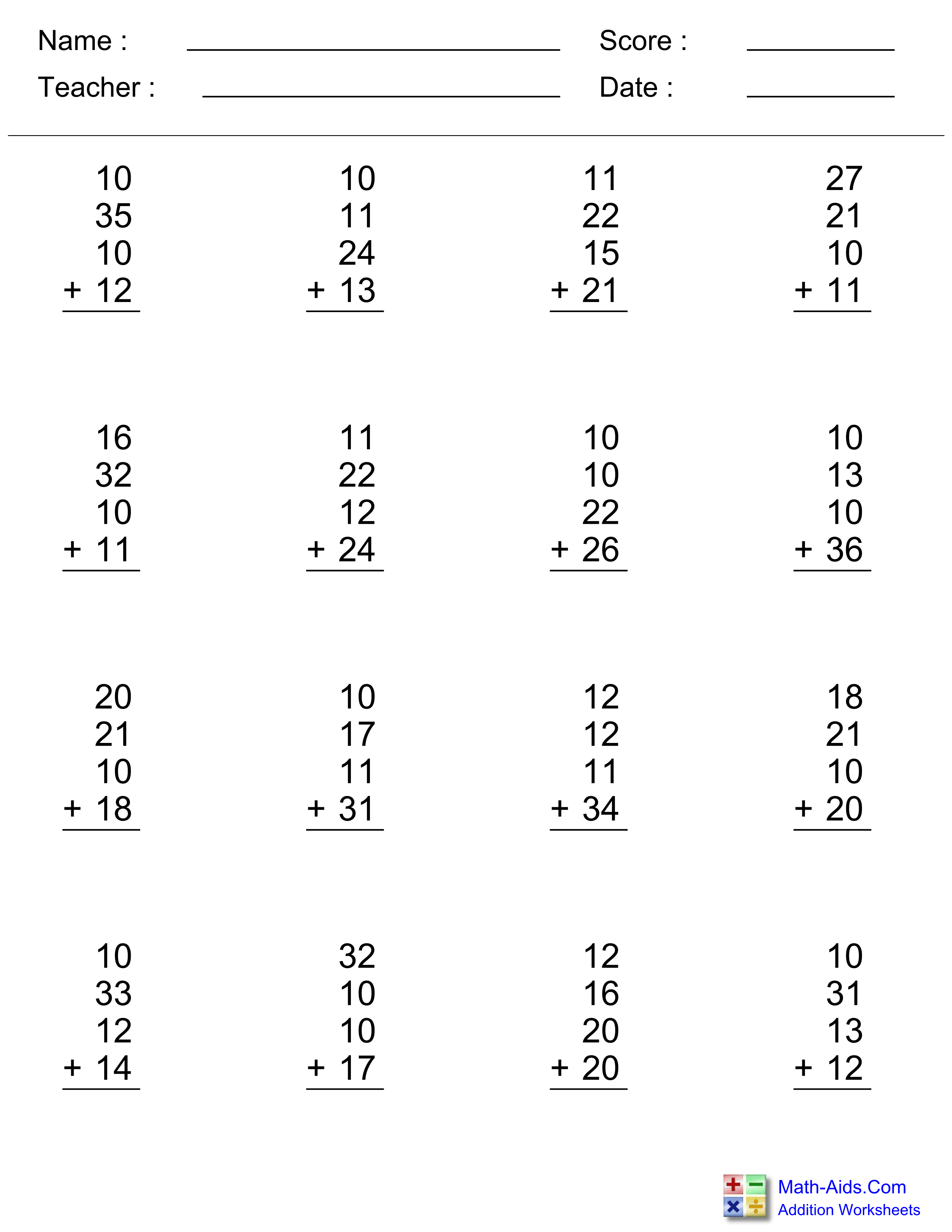 Addition Worksheets | Dynamically Created Addition Worksheets | Free Printable Addition Worksheets