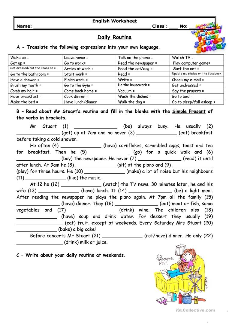 Adults' Daily Routine Worksheet - Free Esl Printable Worksheets Made | Daily Routines Printable Worksheets