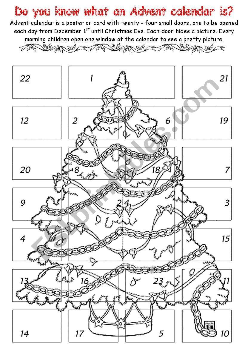 Advent Calendar 1 - Esl Worksheetchiaretta | Advent Printable Worksheets