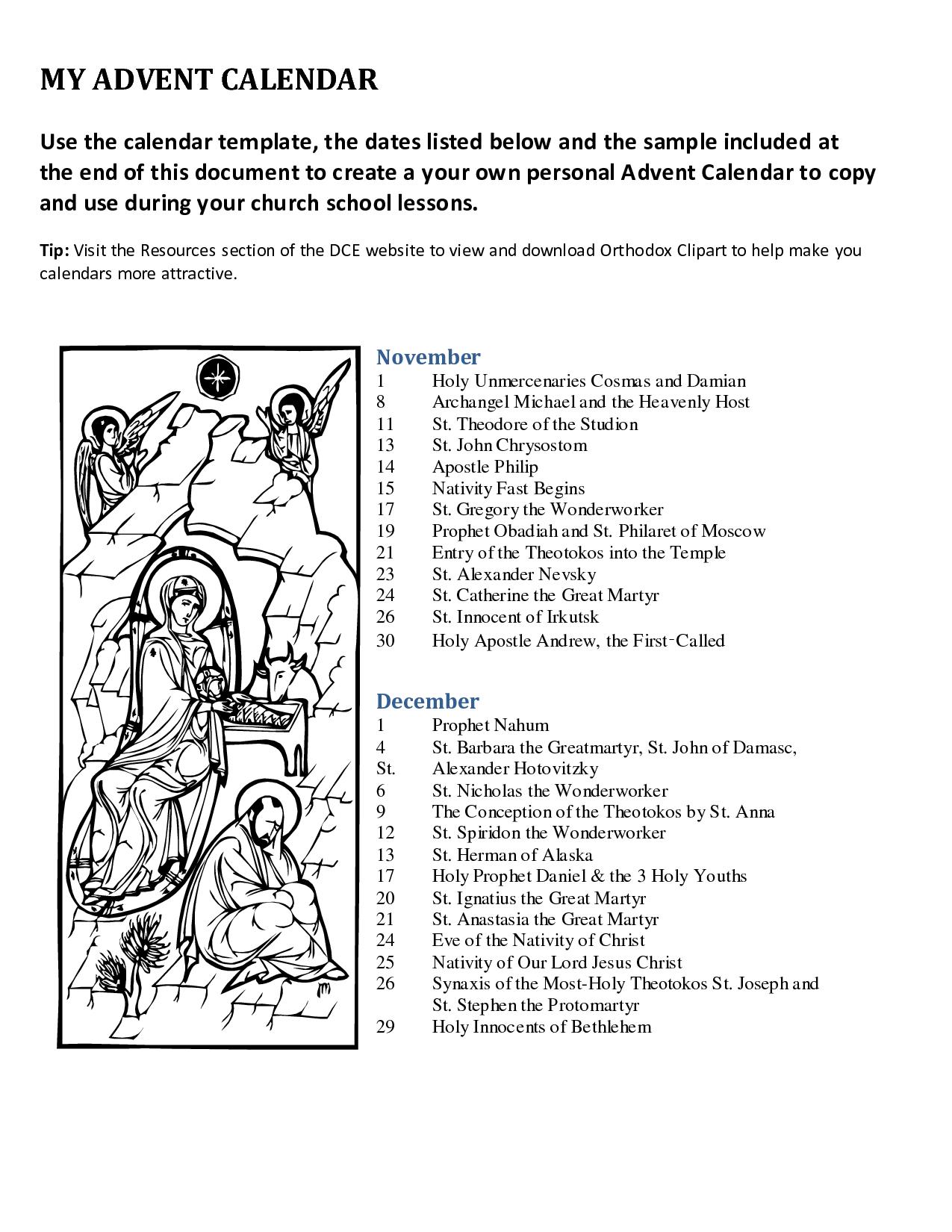 Advent+Printable+Calendar+Templates | Advent Traditions Catholic | Advent Printable Worksheets