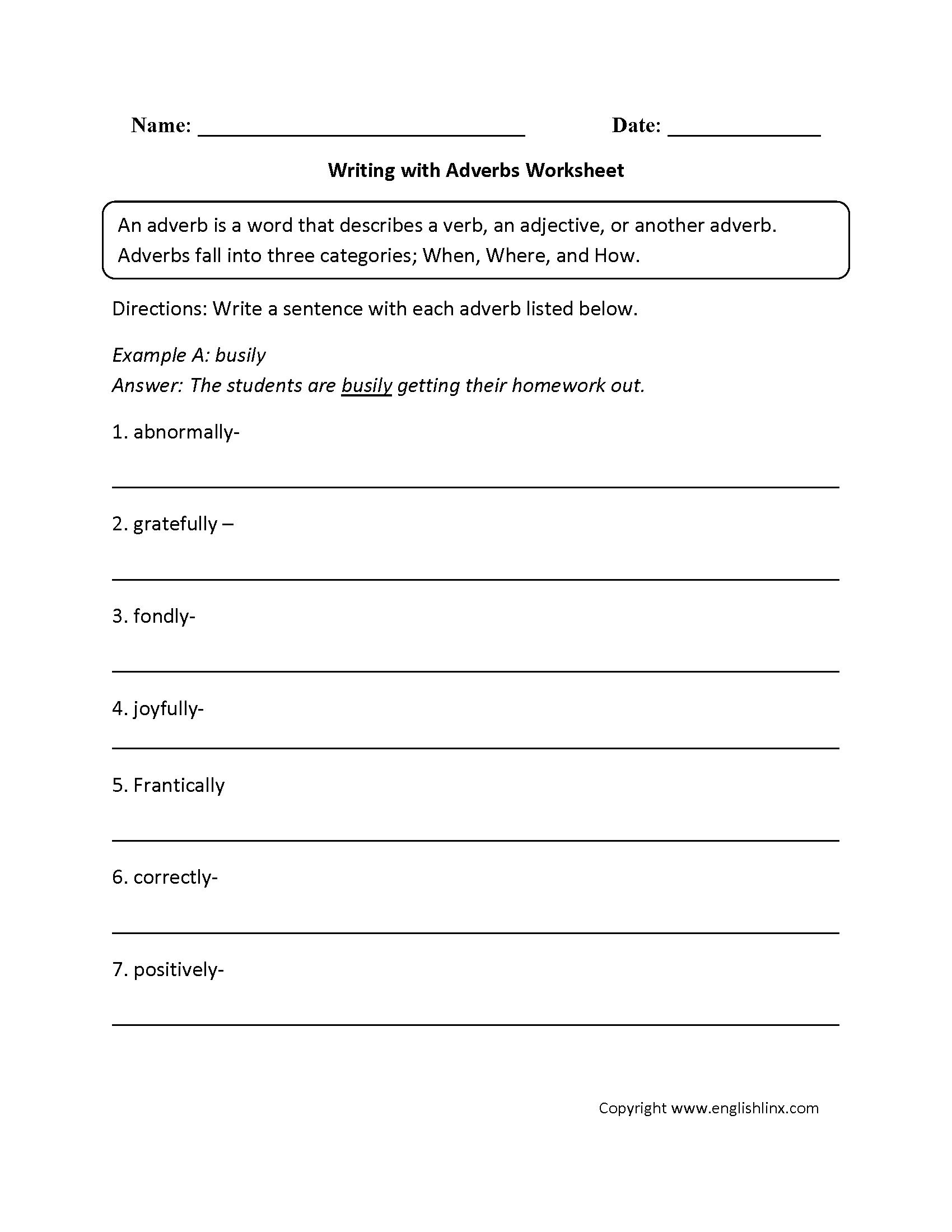 Adverbs Worksheets | Regular Adverbs Worksheets | Free Printable Worksheets On Adverbs For Grade 5