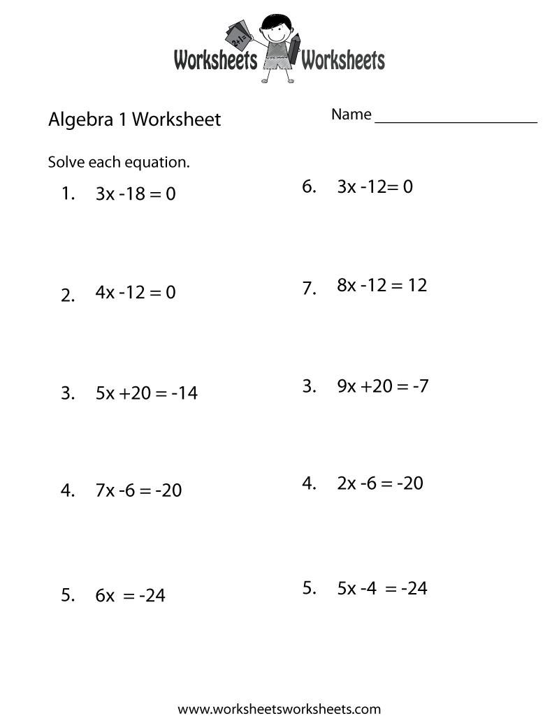 Algebra 1 Practice Worksheet Printable   Algebra Worksheets   Printable Algebra Worksheets High School