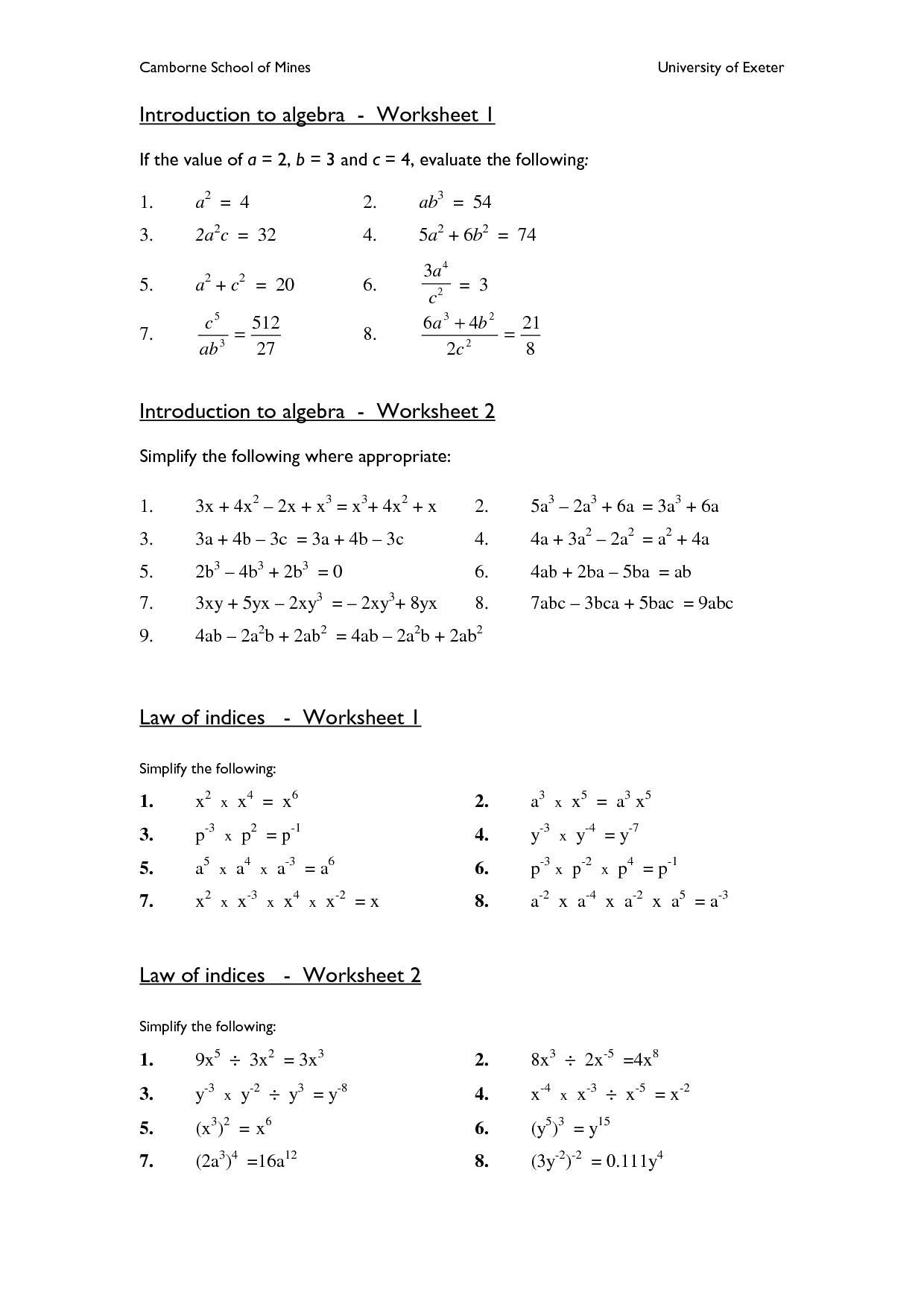 Algebra: Algebra Worksheets High School The Best Image Collection   Printable Algebra Worksheets High School