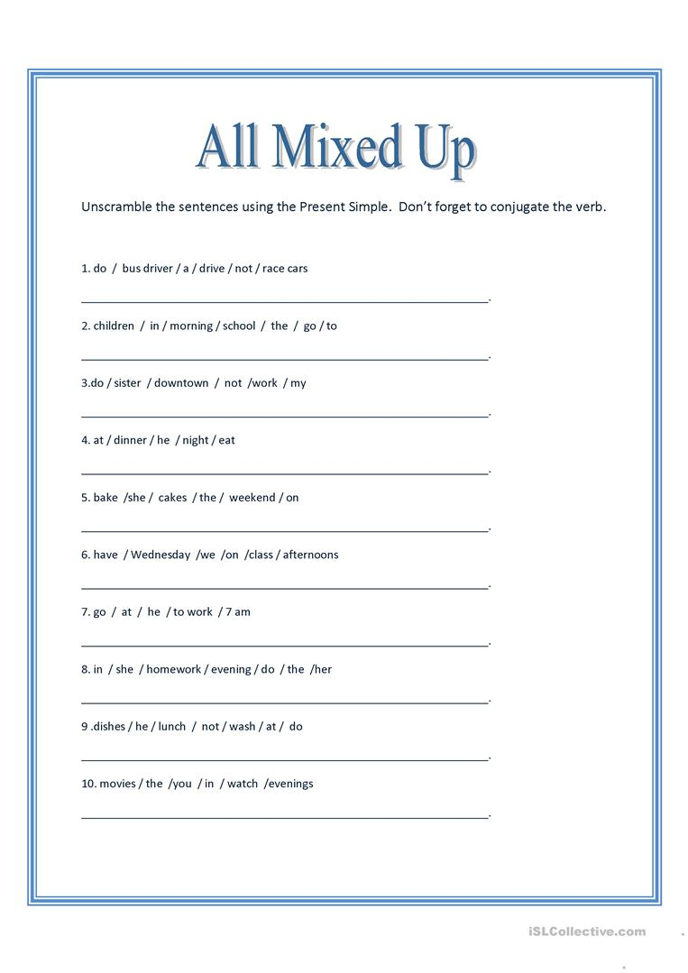 All Mixed Up ~ Sentence Scramble Worksheet - Free Esl Printable | Free Printable Scrambled Sentences Worksheets