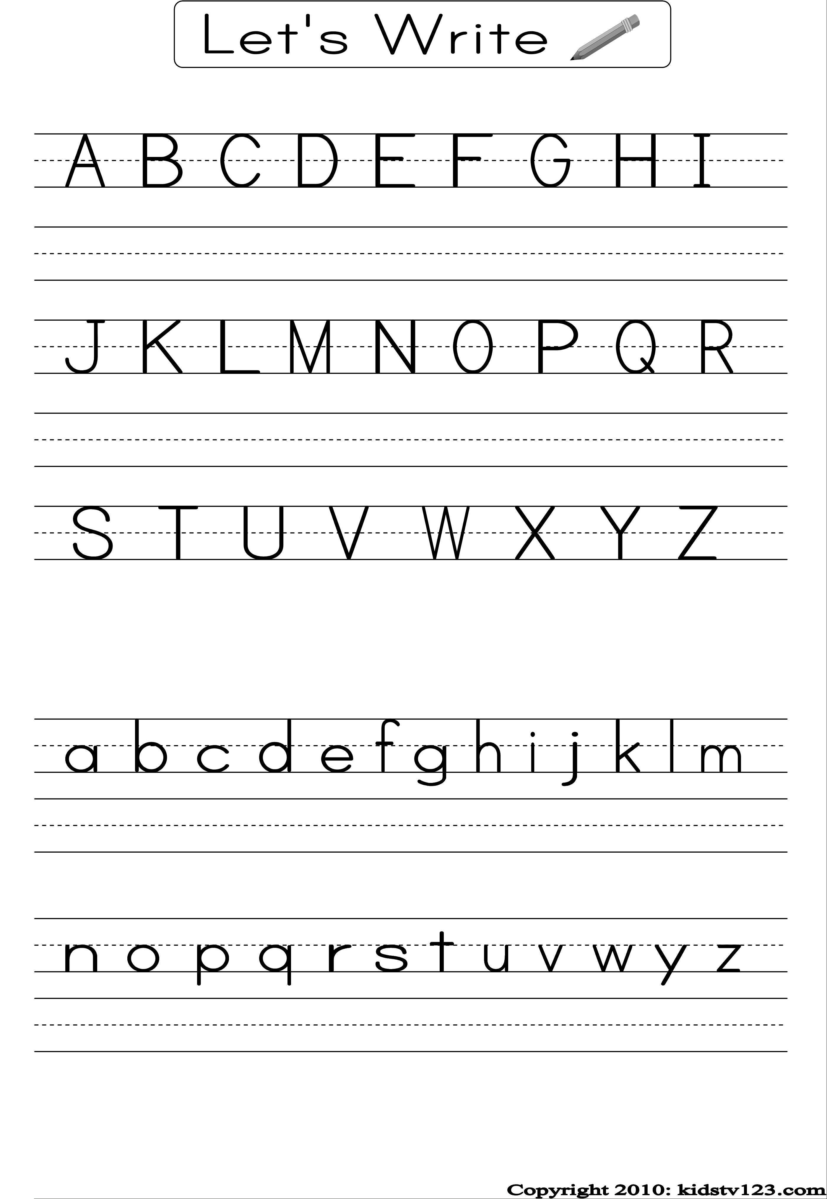 Alphabet Writing Practice Sheet | Edu-Fun | Alphabet Worksheets | Free Printable Writing Worksheets For Kindergarten