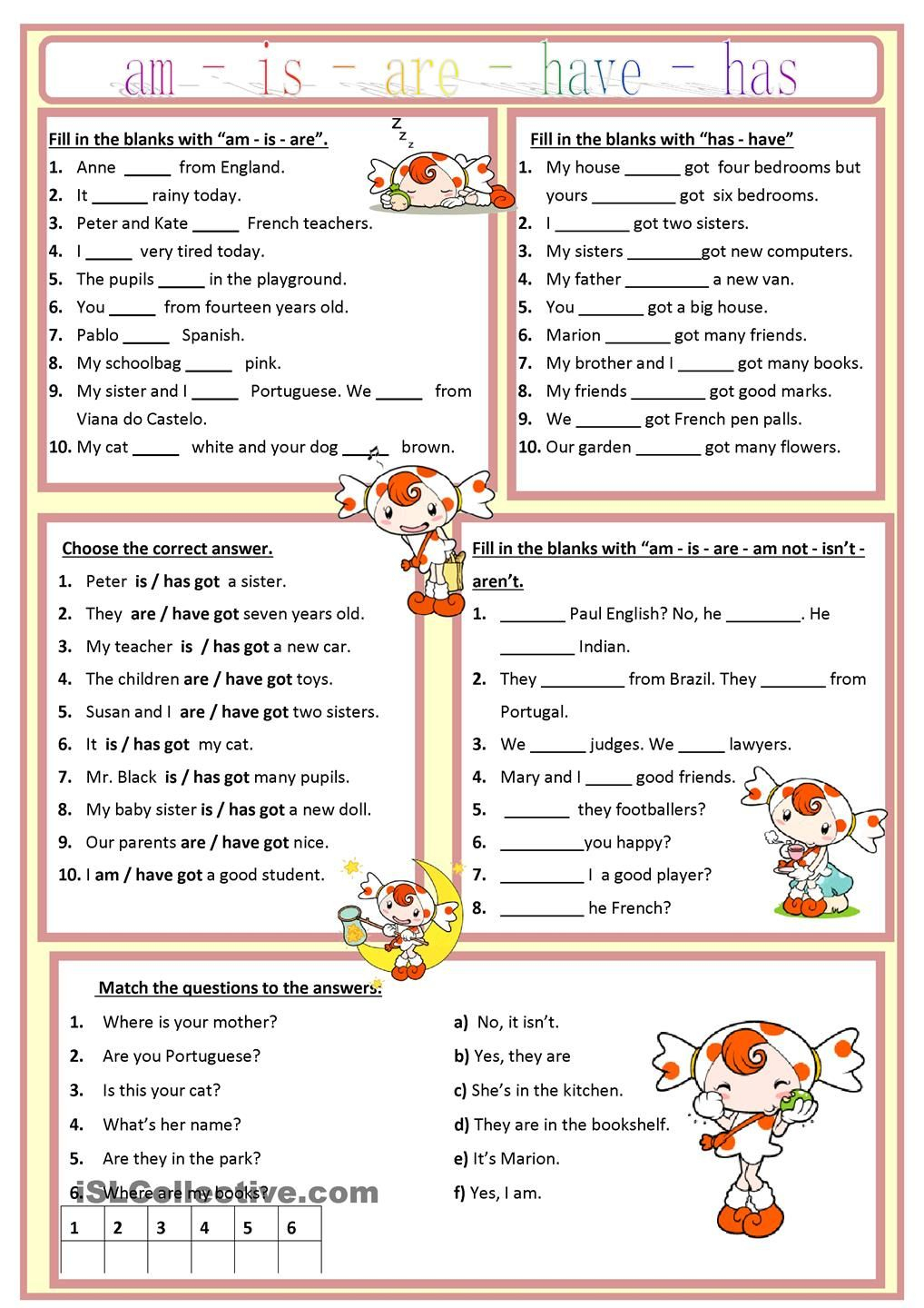 Am, Is, Are, Has, Have Worksheet - Free Esl Printable Worksheets | Printable Worksheets Esl Students