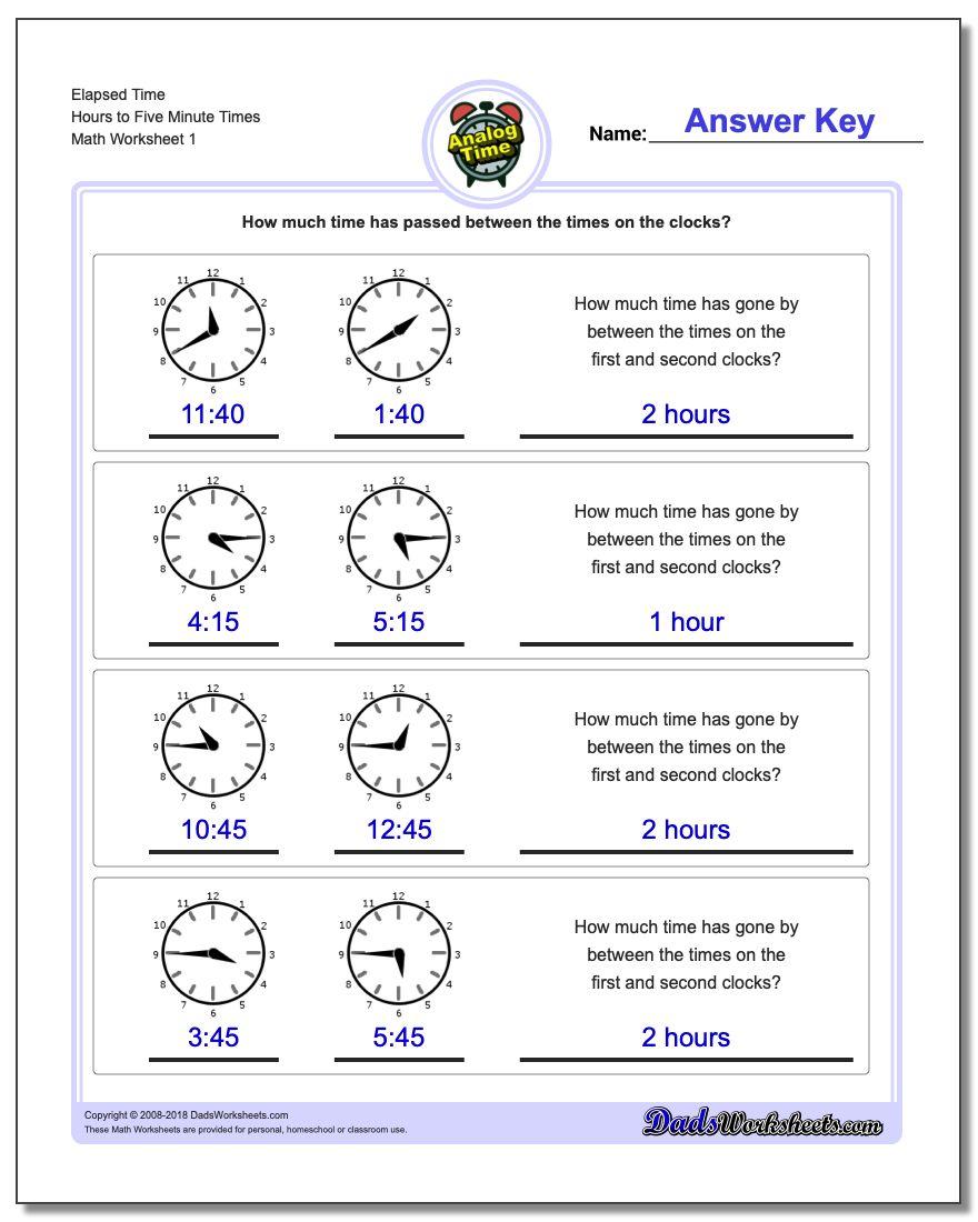 Analog Elapsed Time | Elapsed Time Worksheets Free Printable