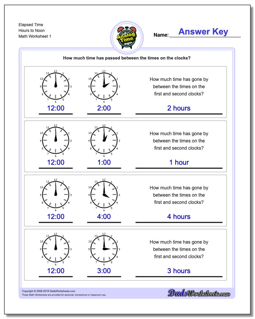 Analog Elapsed Time | Free Printable Elapsed Time Worksheets For Grade 3