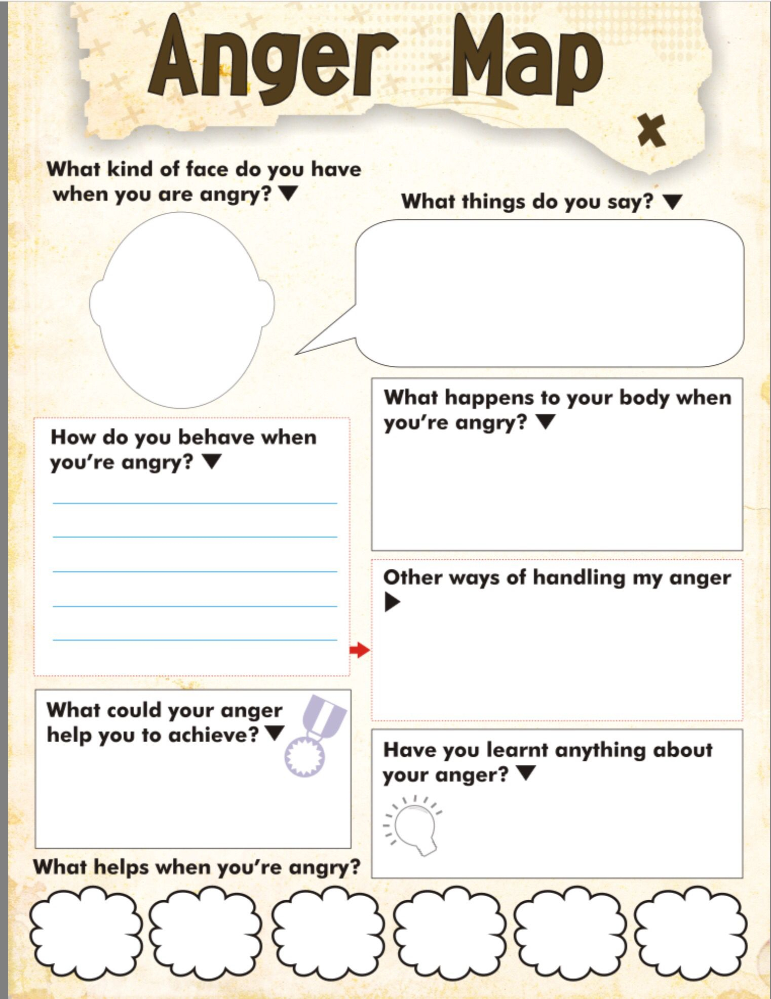 Anger Map Kids Worksheet Free Printable | Tools For Therapy X - Free | Anger Management Printable Worksheets