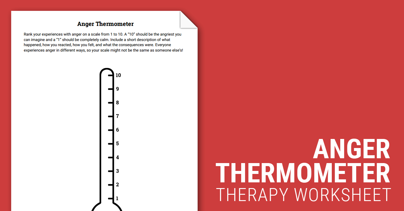 Anger Thermometer (Worksheet) | Therapist Aid | Thermometer Printable Worksheets