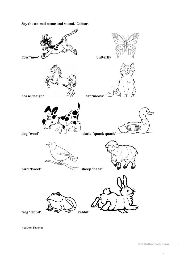 Animal Sounds/ Names Worksheet - Free Esl Printable Worksheets Made | Animal Sounds Printable Worksheets