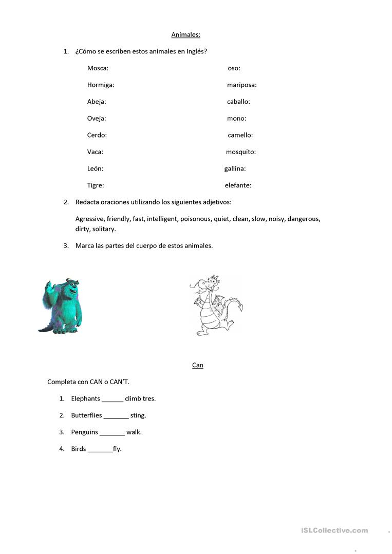 Animals Worksheet - Free Esl Printable Worksheets Madeteachers | Los Animales Printable Worksheets