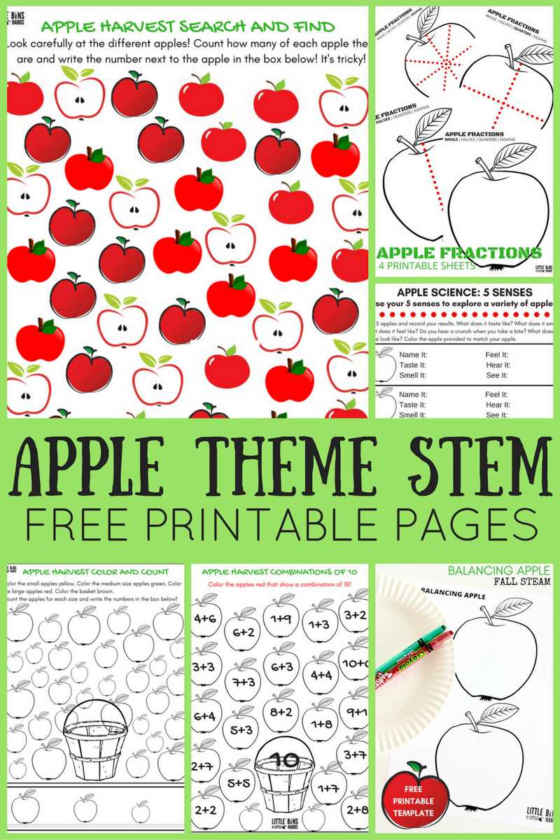 Apple Theme Worksheets And Apple Stem Activities {Free Pages} | A For Apple Worksheet Printable