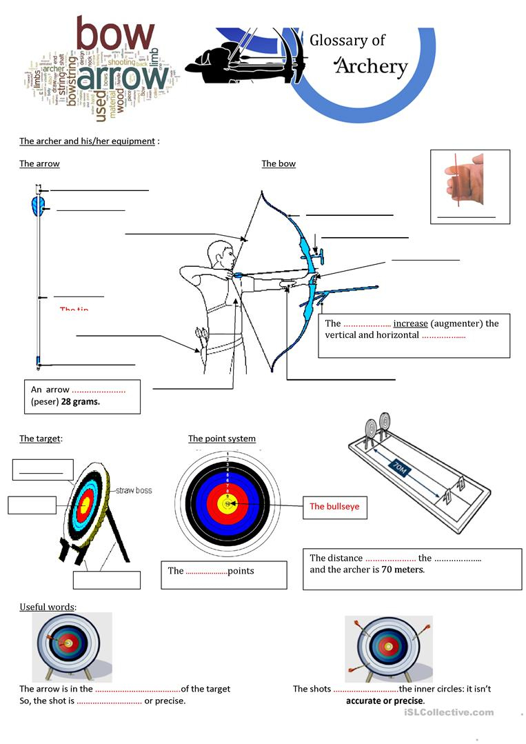 Archery And How To Shoot An Arrow For Beginners Worksheet - Free Esl | Archery Printable Worksheets