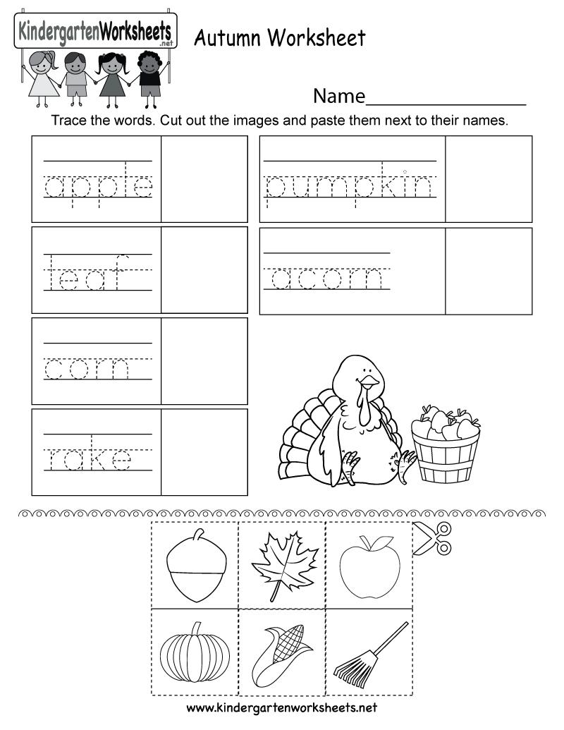 Autumn Worksheet - Free Kindergarten Seasonal Worksheet For Kids   Free Printable Fall Worksheets Kindergarten