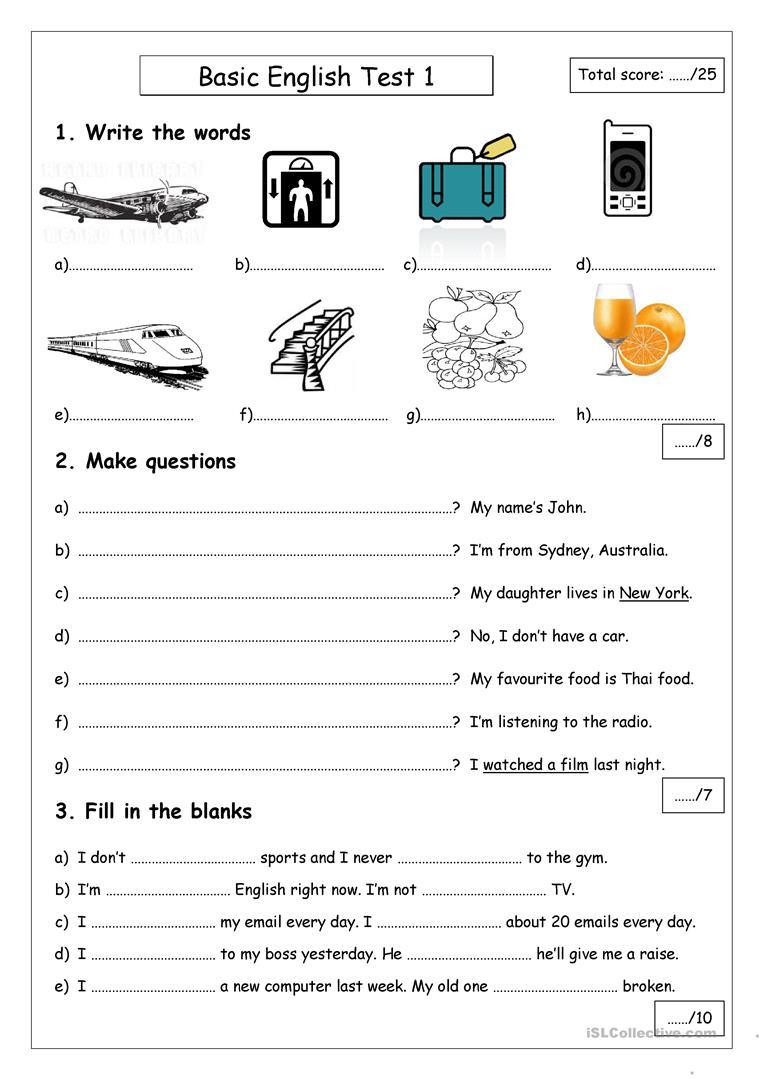 Basic English Test 1 Worksheet - Free Esl Printable Worksheets Made | English Test Printable Worksheets