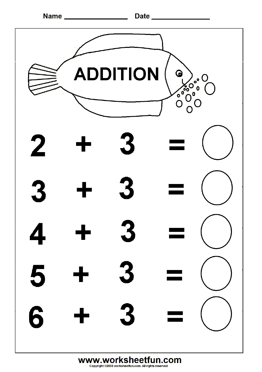 Beginner Addition – 6 Kindergarten Addition Worksheets / Free | Free Printable Pre K Math Worksheets