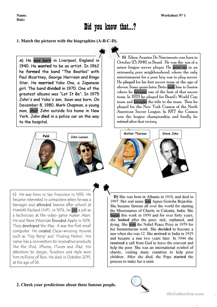 Biographies Of Famous People Worksheet - Free Esl Printable | Printable Biography Worksheets