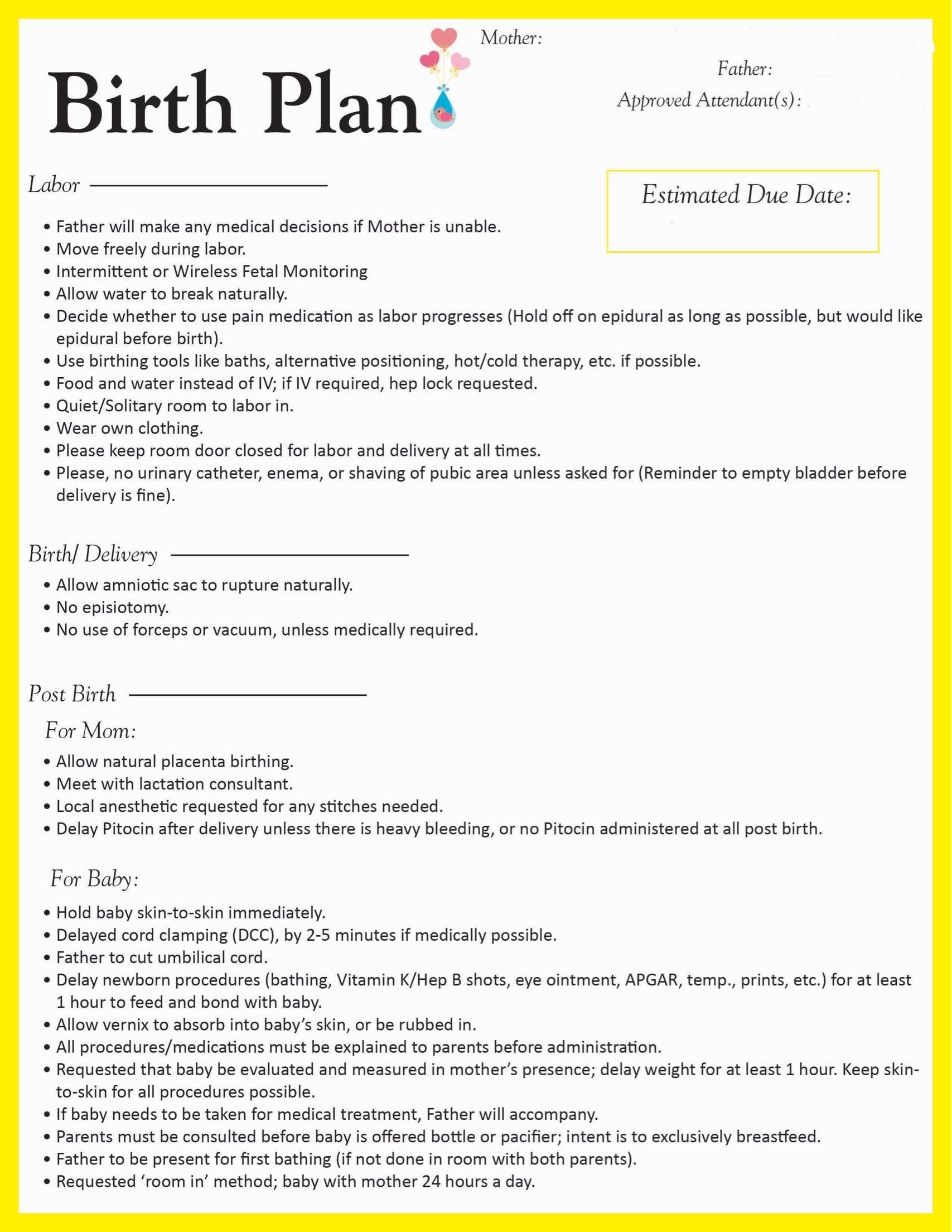 Birth Plan- Going To Make Some Edits, But This Is A Good General | Birth Plan Worksheet Printable