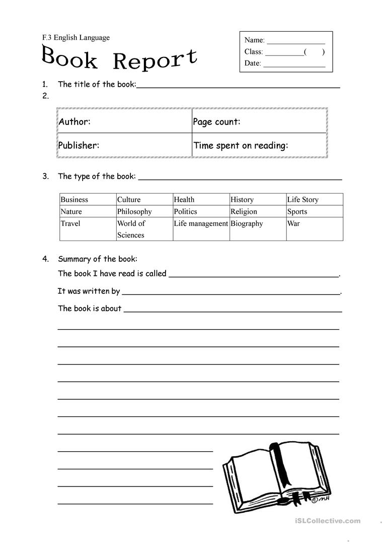 Book Report Form For Non Fiction Worksheet - Free Esl Printable | Printable Book Report Worksheets